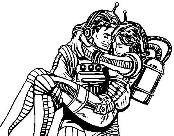 Dibujo de Astronautas enamorados para Colorear