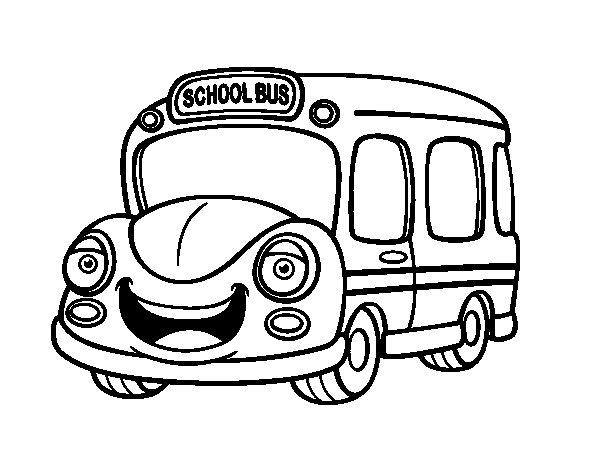 Dibujo de Autobús Escolar Infantil para Colorear