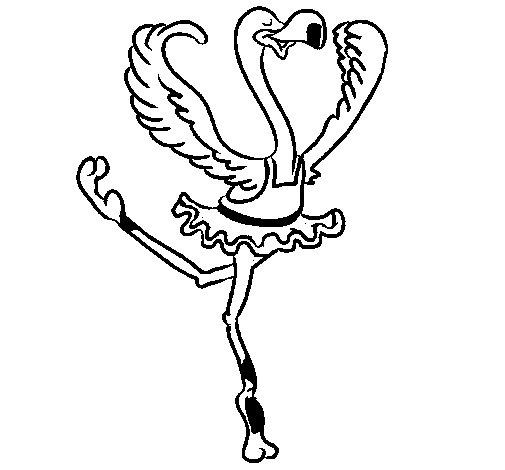 Dibujo de Avestruz en ballet para Colorear