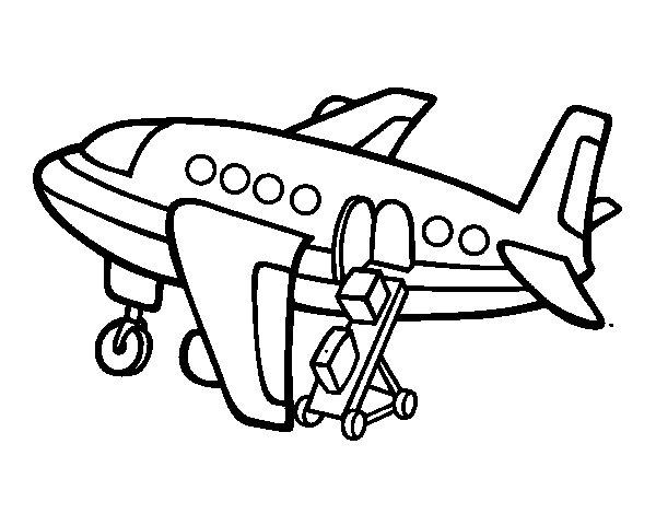 Dibujo de Avión cargando equipaje para Colorear