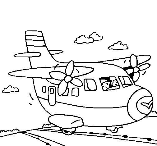 Dibujo de Avión despegando para Colorear