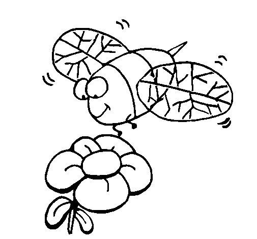 Dibujo de Avispa y flor para Colorear