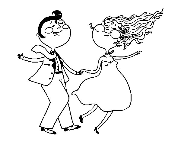 Dibujo de Bailarines de swing para Colorear  Dibujosnet