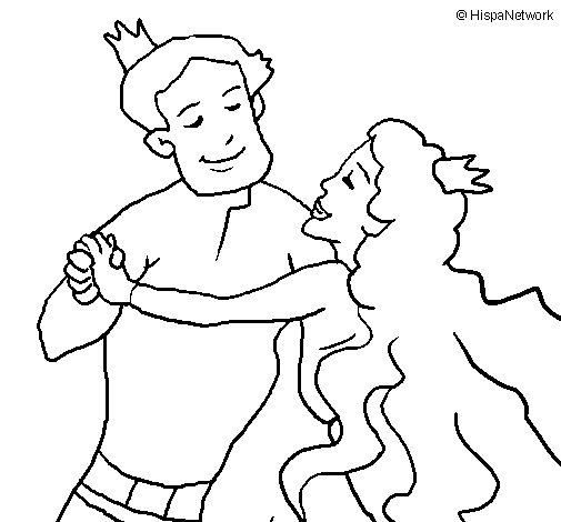 Dibujo de Baile de príncipes para Colorear