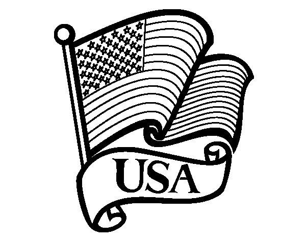 Dibujo de Bandera de los Estados Unidos para Colorear