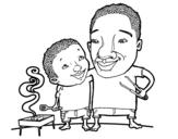 Dibujo de Barbacoa con papá para colorear