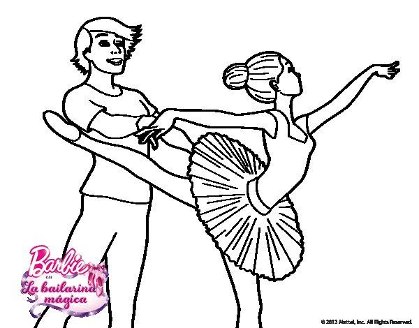 Dibujo de Barbie bailando ballet para Colorear