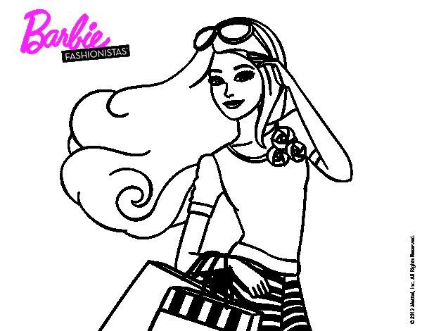 Dibujo de Barbie con bolsas para Colorear