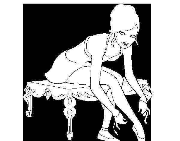 Dibujo de Barbie con las zapatillas de ballet para Colorear