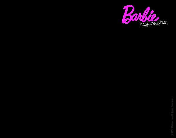 Dibujo de Barbie con su linda gatita para Colorear