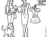 Dibujo de Barbie con su profesora para colorear