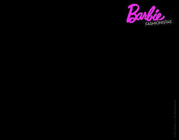 Dibujo de Barbie con su vestido con lazo para Colorear