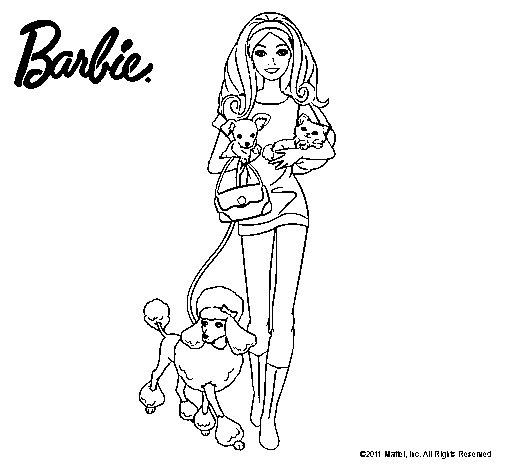 Dibujo de Barbie con sus mascotas para Colorear  Dibujosnet