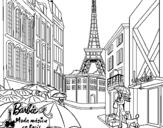 Dibujo de Barbie en la Torre Eiffel para colorear