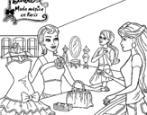 Dibujo de Barbie en una tienda de ropa para colorear