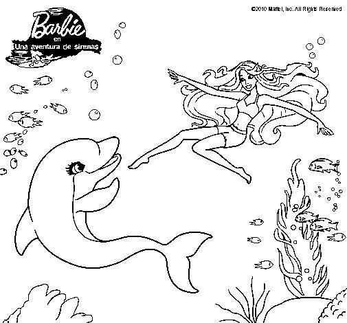 Dibujo de Barbie jugando con un delfín para Colorear