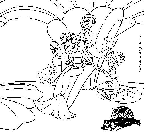 Dibujo de Barbie princesa sirena para Colorear