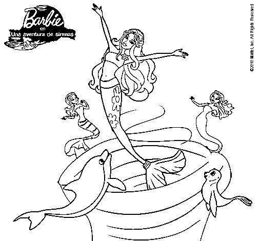 Dibujo de Barbie sirena contenta para Colorear