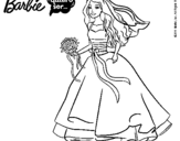 Dibujo de Barbie vestida de novia para colorear