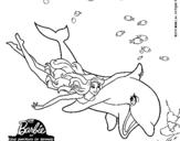 Dibujo de Barbie y delfín para colorear