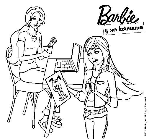 Dibujo de Barbie y su hermana merendando para Colorear