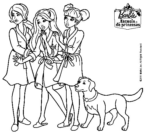 Dibujo de Barbie y sus amigas en bata para Colorear  Dibujosnet