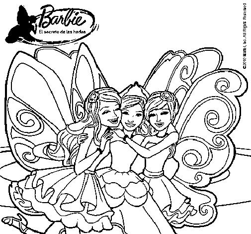 Dibujo de Barbie y sus amigas en hadas para Colorear  Dibujosnet
