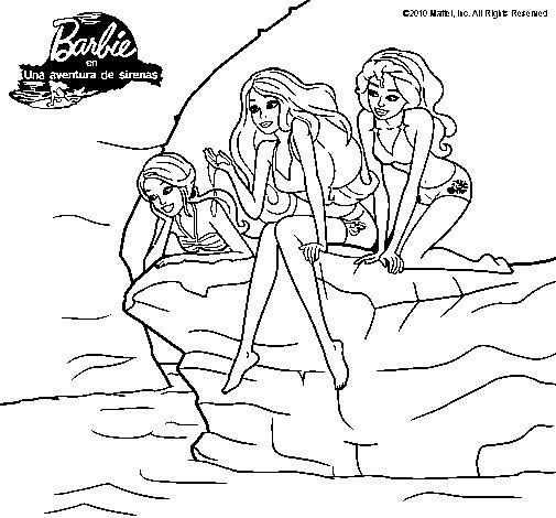 Dibujo de Barbie y sus amigas sentadas para Colorear  Dibujosnet