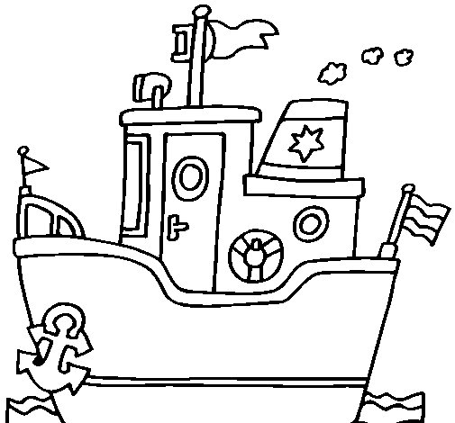 Dibujo de Barco con ancla para Colorear  Dibujosnet