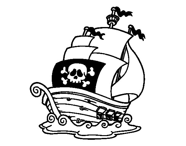 Dibujo de Barco de piratas para Colorear  Dibujosnet