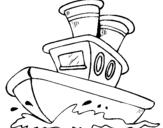 Dibujo de Barco en el mar para colorear
