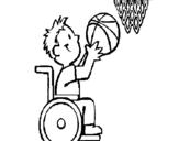Dibujo de Básquet en silla de ruedas para colorear