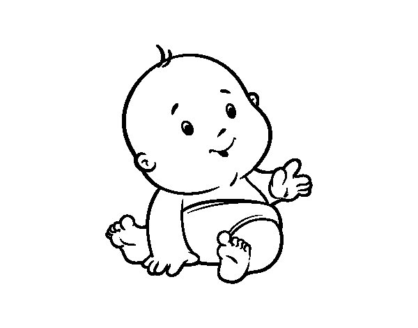 Dibujos Animados Para Colorear Disney Bebes Para Colorear: Dibujo De Bebé Curioso Para Colorear