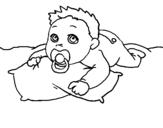 Dibujo de Bebe jugando para colorear
