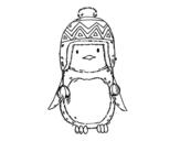 Dibujo de Bebé pingüino con gorrito para colorear