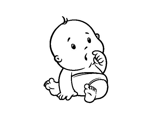 Dibujo de beb sorprendido para colorear - Dibujos pared bebe ...
