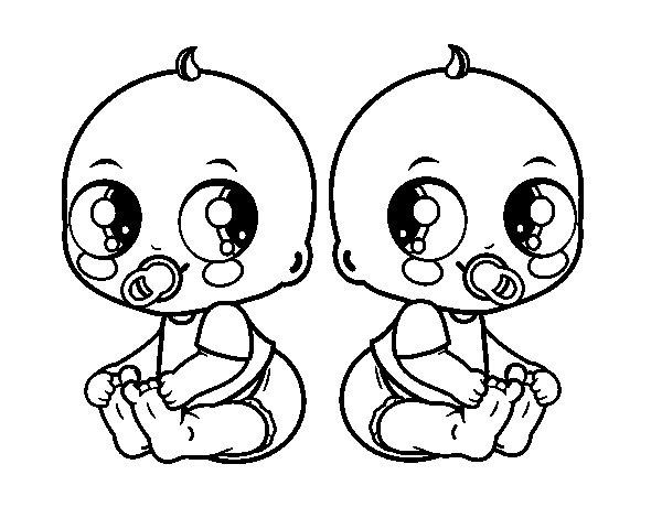 Dibujos Animados Para Colorear Disney Bebes Para Colorear: Dibujo De Bebés Gemelos Para Colorear