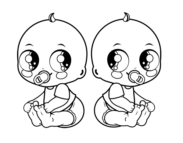 Dibujo de Beb s gemelos para Colorear