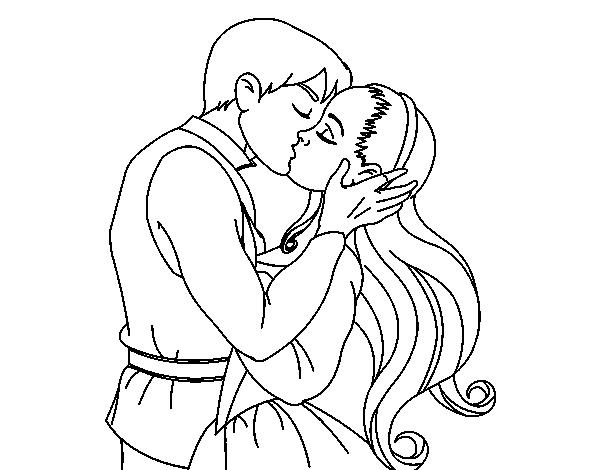 Dibujos De Amor Para Colorear: Dibujo De Beso De Amor Para Colorear