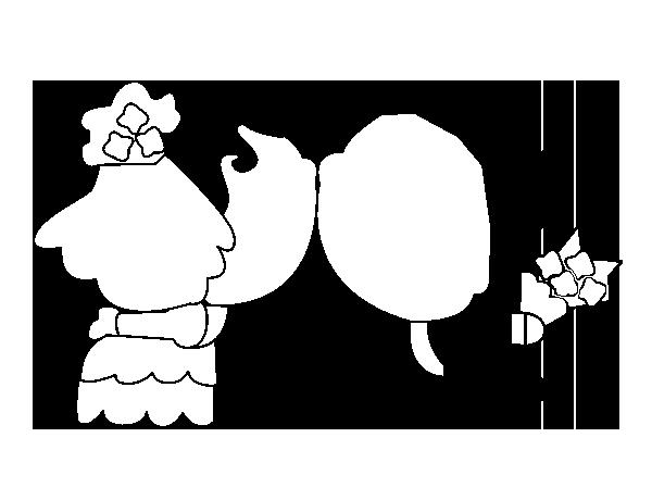 dibujo de beso de recin casados para colorear dibujosnet