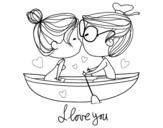 Dibujo de Beso en un bote para colorear