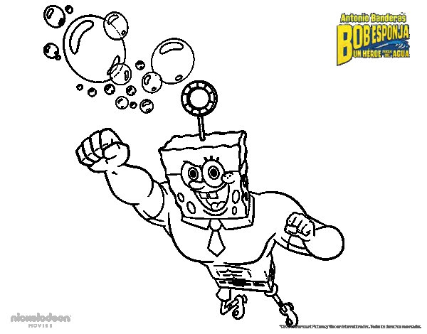 Dibujo de Bob Esponja - La burbuja invencible al ataque para Colorear