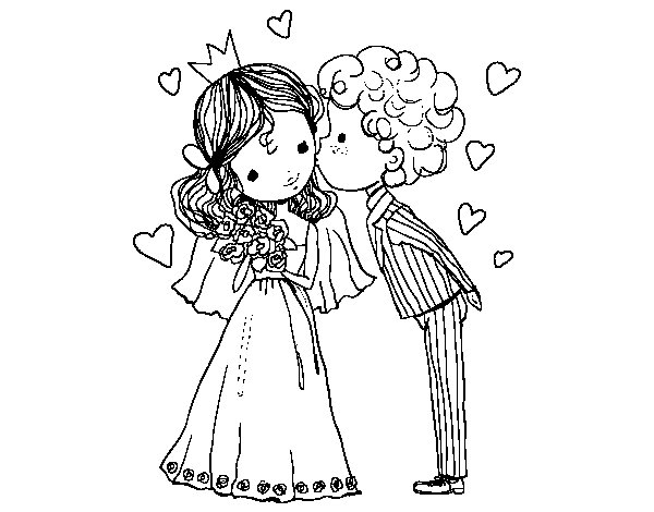 Dibujos De Principes Y Princesas Para Colorear: Dibujo De Boda De Príncipe Y Princesa Para Colorear