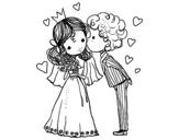 Dibujo de Boda de príncipe y princesa para colorear
