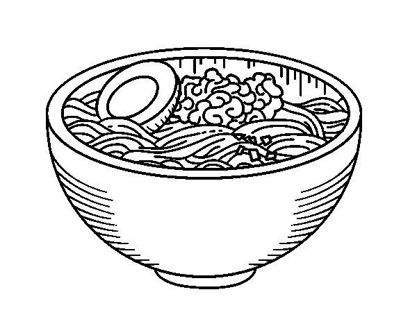 Dibujo de Bol de ramen para Colorear