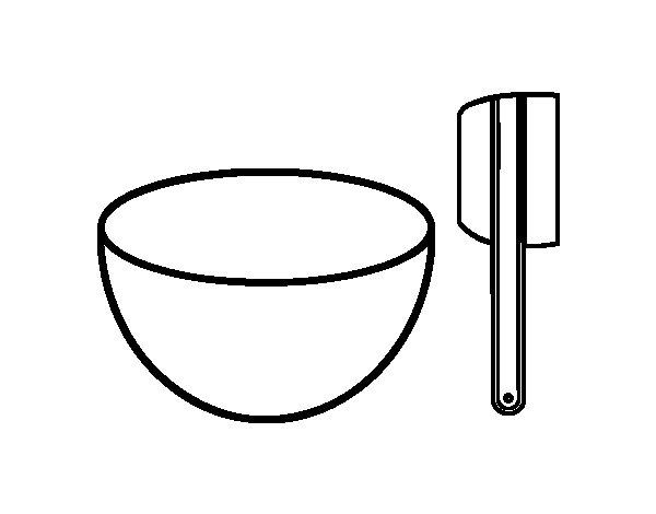 Dibujo de Bol y paleta para hacer pasteles para Colorear