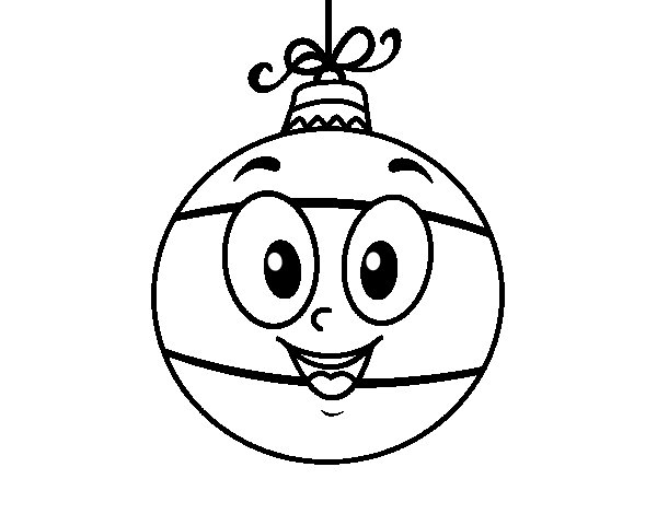 Dibujos Para Colorear Arboles Navidenos: Dibujo De Bola De árbol De Navidad Para Colorear
