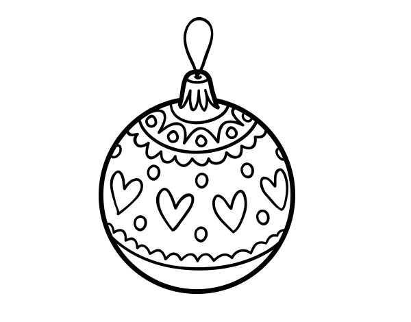 Imágenes Para Colorear De Dibujos De Navidad: Dibujo De Bola De Navidad Estampada Para Colorear