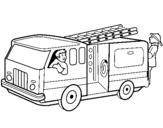 Dibujo de Bomberos en el camión para colorear