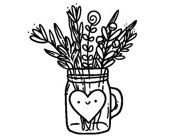 Dibujo de Bote con flores silvestres y un corazón para Colorear